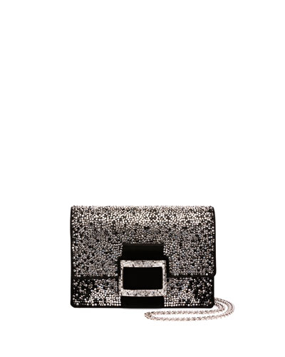 Viv Micro Degrade-Strass Shoulder Bag, Black