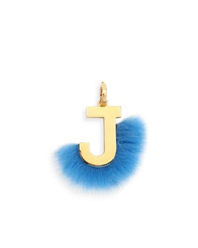 ABClick Letter J Mink Charm for Handbag, Multi