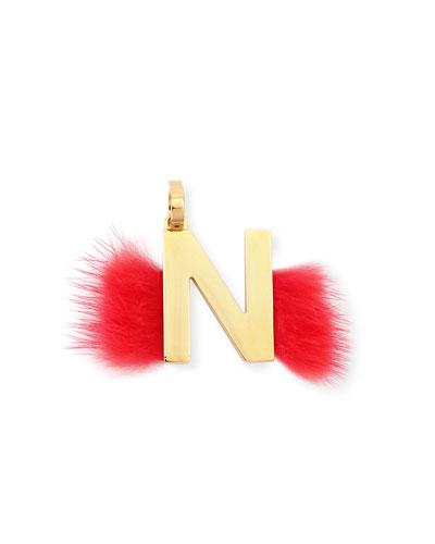 ABClick Letter N Mink Charm for Handbag, Multi