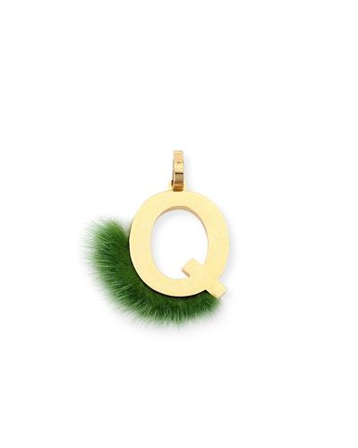 ABClick Letter Q Mink Charm for Handbag, Multi