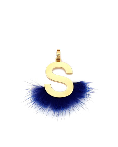 ABClick Letter S Mink Charm for Handbag, Multi