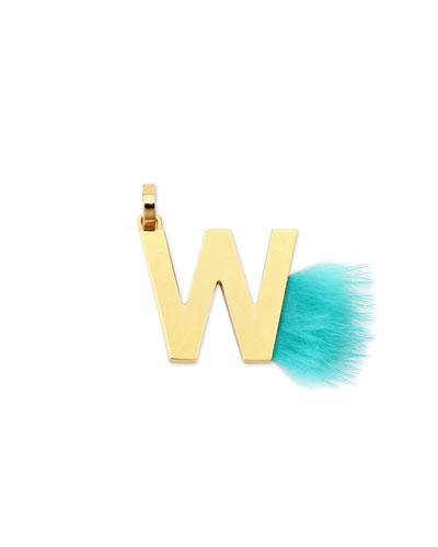 ABClick Letter W Mink Charm for Handbag, Multi
