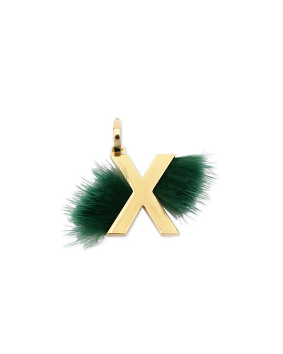 ABClick Letter X Mink Charm for Handbag, Multi