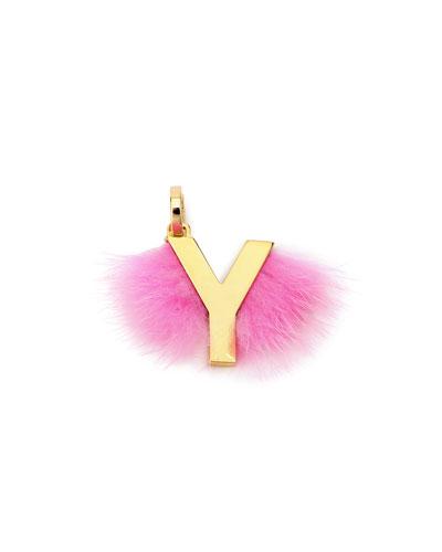 ABClick Letter Y Mink Charm for Handbag, Multi