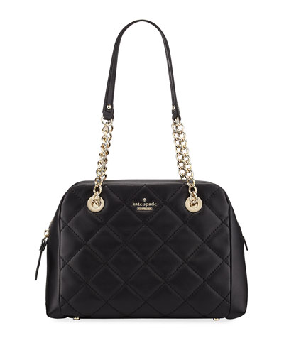emerson place dewy quilted shoulder bag, black