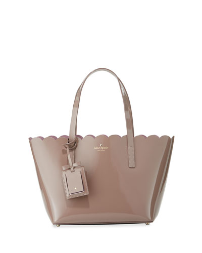 lily avenue small patent tote bag, porcini/rose taupe