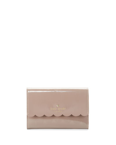 lily avenue kieran patent wallet, porcini/rose taupe