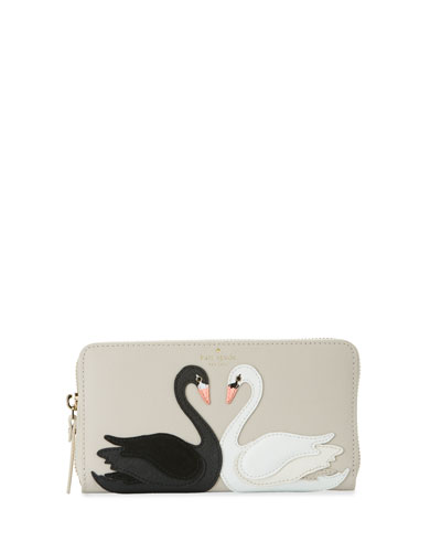 on pointe lacey swan wallet, crisp linen/multi