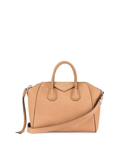 Antigona Medium Braided Satchel Bag, Caramel