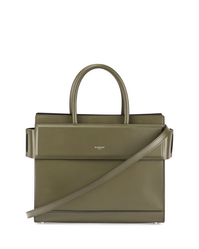 Horizon Small Leather Tote Bag, Army Green