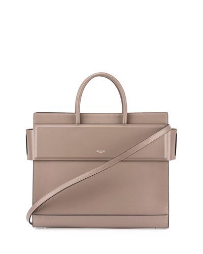 Horizon Medium Leather Tote Bag, Taupe Gray