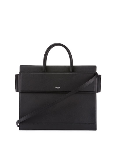 Horizon Medium Leather Tote Bag, Black