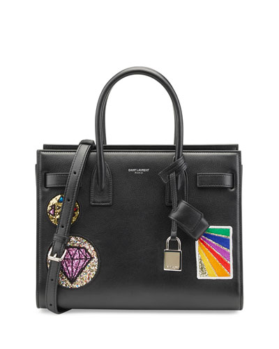 Sac de Jour Baby Patches Satchel Bag, Black/Multi