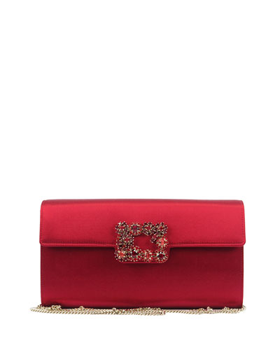 Floral Crystal-Buckle Clutch Bag, Red