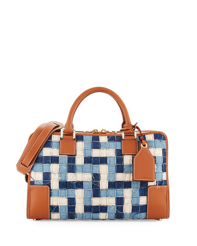 Amazona 28 Woven Denim Satchel Bag, Blue/Multi