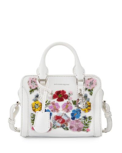 Mini Padlock Satchel Bag, White/Multi