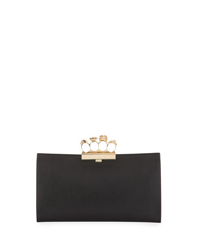 Knuckle Grain Leather Clutch Bag, Black