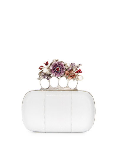 Nova Whips Snakeskin Clutch Bag, White