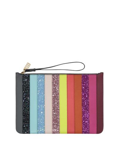 Talbot Striped Zip Pouch Bag, Rainbow Glitter