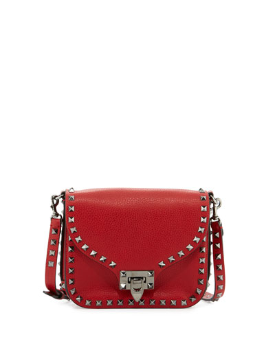 Rockstud Flap-Top Leather Shoulder Bag, Red (Rosso)