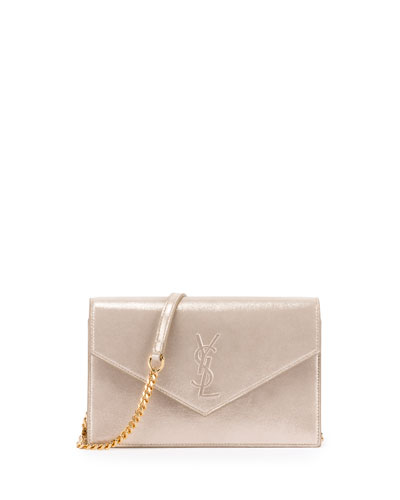 Monogram Shimmery Suede Envelope Chain Wallet, Gold
