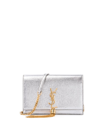 Kate Monogram Tassel Chain Wallet, Silver