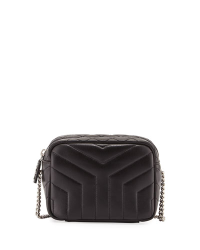 Monogram Y-Quilted Mini Leather Camera Crossbody Bag, Black