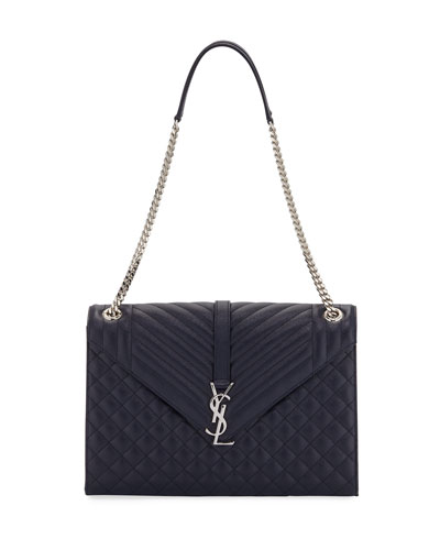 Monogram Large Chain Matelassé Shoulder Bag, Navy