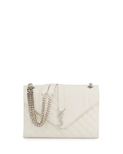 Kate Monogram Medium Mixed-Matelassé Chain Shoulder Bag, White