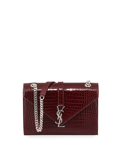 Monogram Medium Crocodile-Embossed Envelope Chain Shoulder Bag, Navy