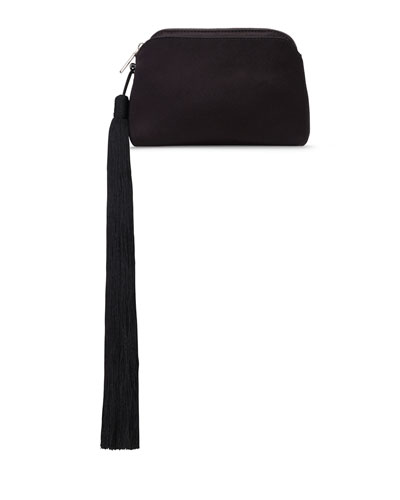 Mini Satin Tassel Wristlet Bag, Black