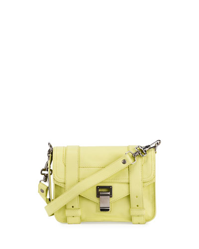 PS11 Mini Leather Shoulder Bag, Pale Citrus