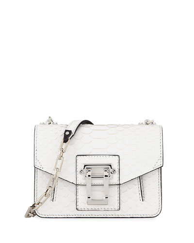 Hava Matte Python Chain Crossbody Bag, White