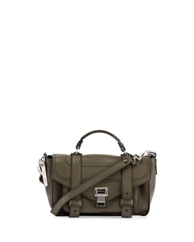 PS1+ Tiny Leather Satchel Bag, Cypress