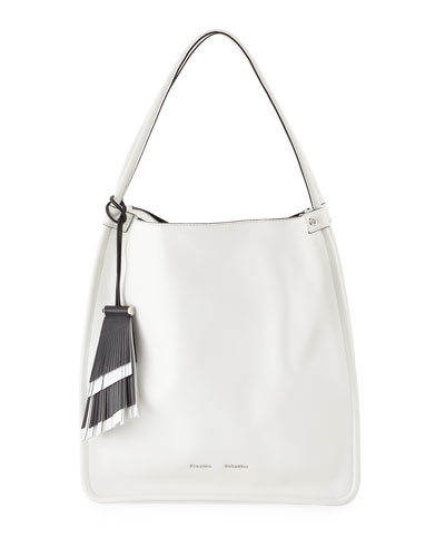 Medium Soft Leather Tote Bag, White