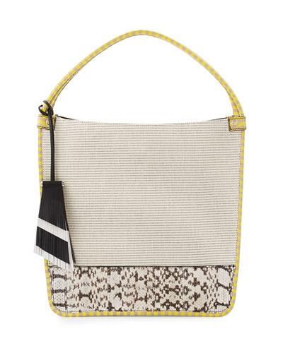 Medium Canvas & Snakeskin Tote Bag, Ecru