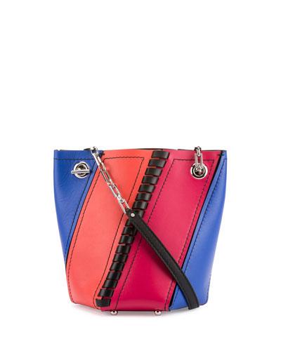 Hex Mini Colorblock Leather Bucket Bag, Memphis Blue/Magenta/Geranium