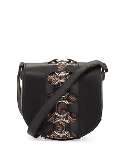 Lia Mini Ring Leather Saddle Bag, Black