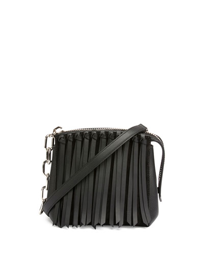 Attica Flap Fringe Crossbody Bag, Black