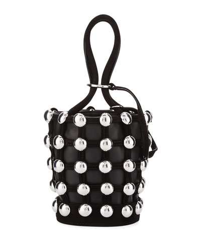 Roxy Mini Studded Suede Bucket Bag, Black