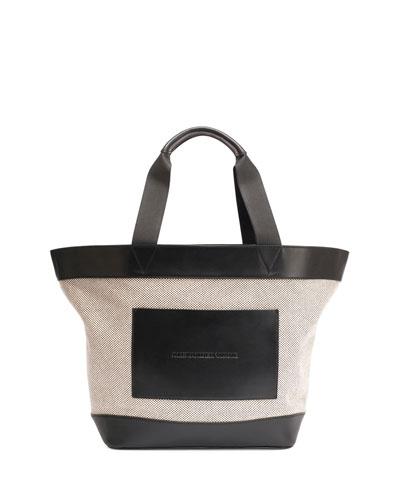 Leather-Trim Canvas Tote Bag, Black/White