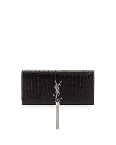 Kate Monogram Tassel Clutch Bag, Black