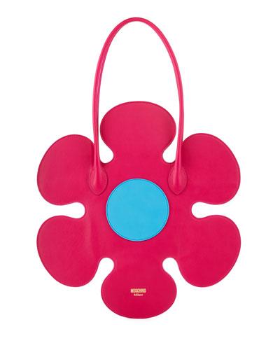 Flower Leather Shoulder Bag, Pink