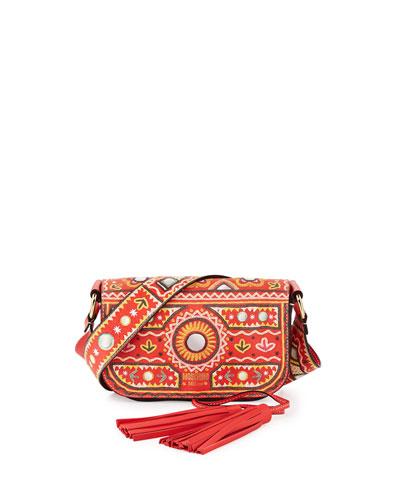 Printed Flap Tassel Shoulder Bag, Orange/Multi