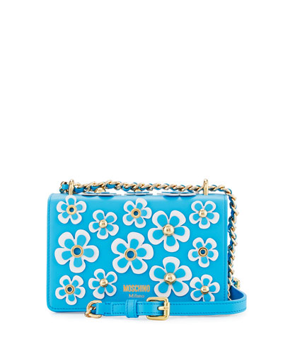 Floral Appliqué Chain Shoulder Bag, Blue