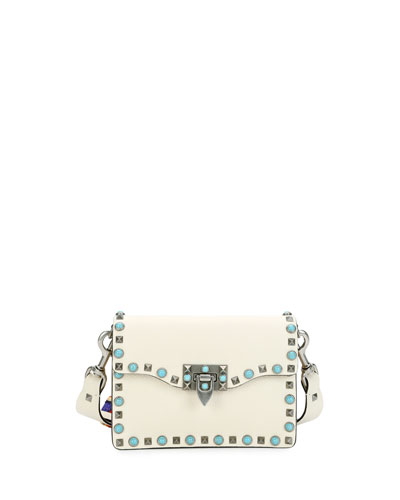 Rockstud Rolling Small Guitar-Strap Crossbody Bag, Light Ivory