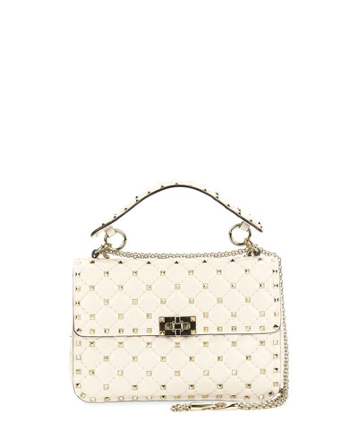 Rockstud Spike Small Quilted Shoulder Bag, Light Ivory