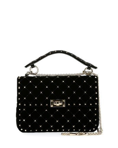Rockstud Spike Velvet Medium Quilted Shoulder Bag, Black