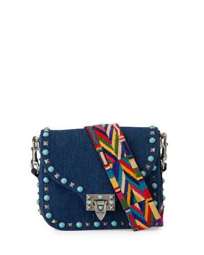 Rockstud Rolling Small Denim Guitar-Strap Crossbody Bag, Denim/Multi