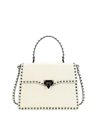 Rockstud Medium Leather Top-Handle Satchel Bag, Light Ivory
